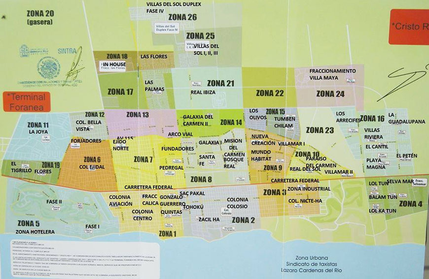 Playa del Carmen Taxi Zone Map